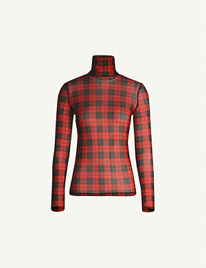 MAJE Thomas tartan-pattern turtleneck mesh top