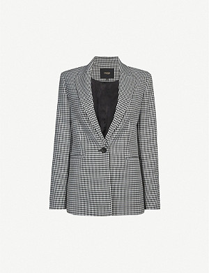 MAJE Gingham single-breasted stretch-woven jacket