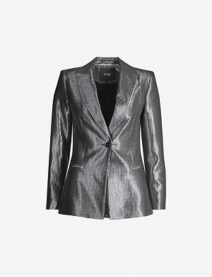 MAJE Single-breasted metallic-woven jacket