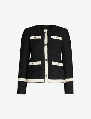 MAJE Contrast-trim tailored boucle blazer