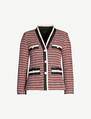 MAJE Contrast trim tailored tweed blazer