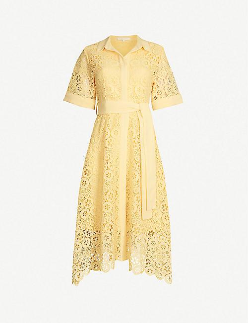 1eb203921 MAJE Embroidered-lace midi shirt dress
