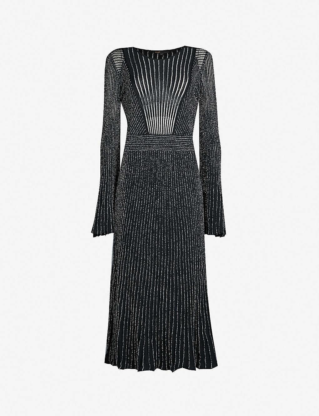 0e7ca208a9 MAJE - Regular flared-sleeve metallic-knit midi dress | Selfridges.com