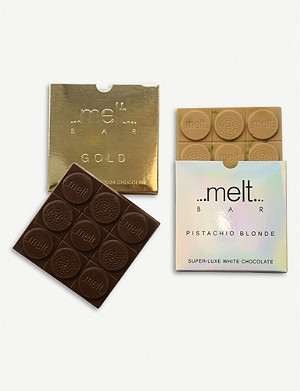 MELT Pistachio Blonde and Gold chocolate bars set of two