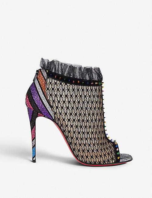 6fd4ddc535d3 CHRISTIAN LOUBOUTIN Juliettra 100 lace and glitter ankle boots