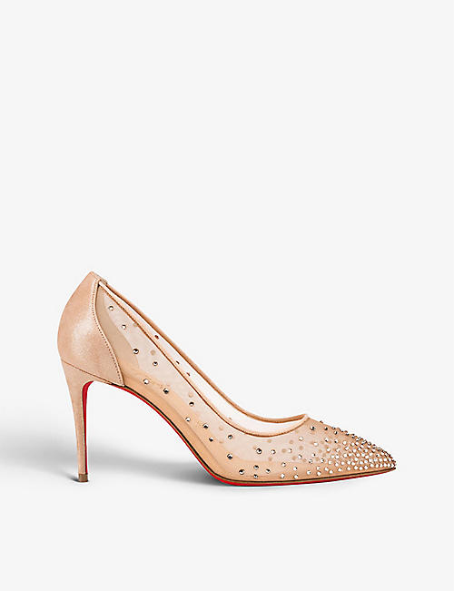 CHRISTIAN LOUBOUTIN: Follies strass 85 rete/suede lame versio