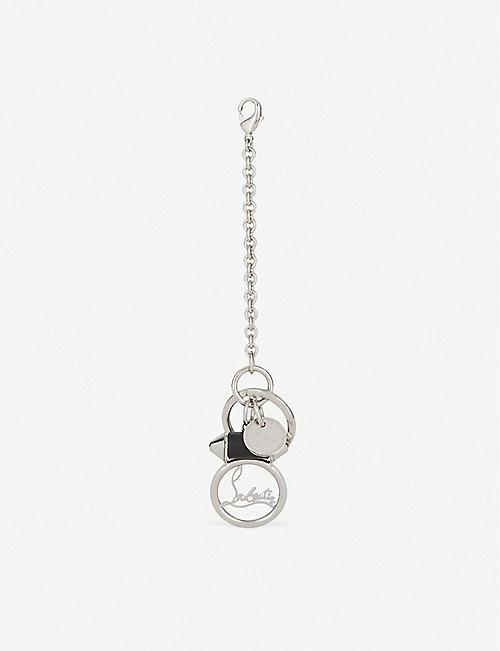 CHRISTIAN LOUBOUTIN Rubylou mini keyring metal calf silver b 3c0249563