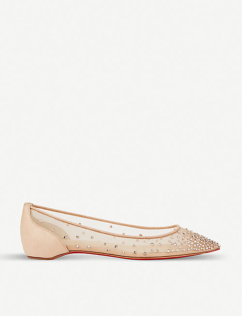 CHRISTIAN LOUBOUTIN:Follies strass flat rete/绒面革平底鞋