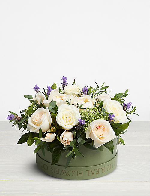 THE REAL FLOWER COMPANY Ivory scented hat box arrangement