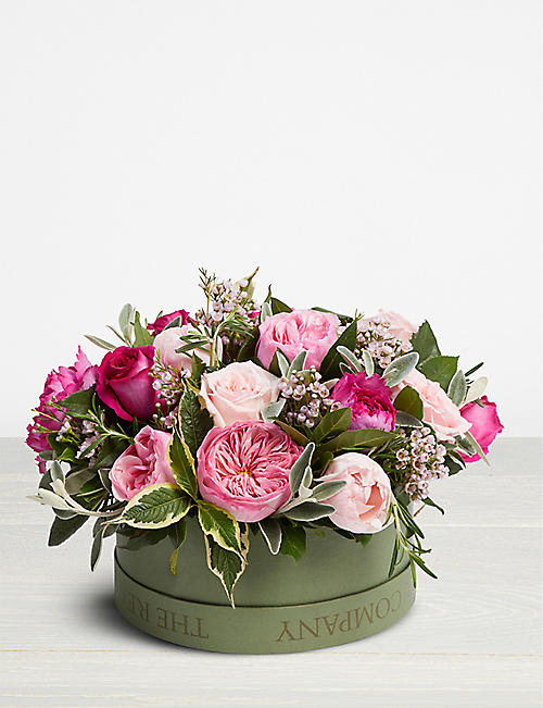 THE REAL FLOWER COMPANY Mixed Pink scented hat box arrangement