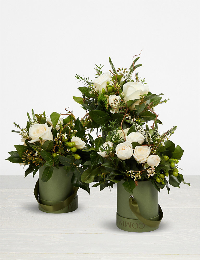 The Real Flower Company Pure Hat Box Trio Selfridges Com