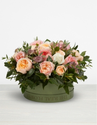 THE REAL FLOWER COMPANY Romantic Juliet hat box arrangement