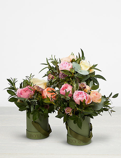 THE REAL FLOWER COMPANY Romantic Juliet hat box trio