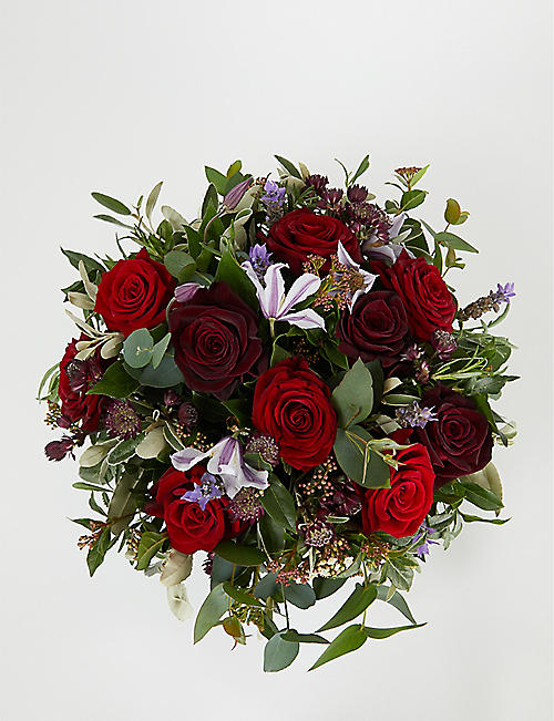 THE REAL FLOWER COMPANY Romantic Rose and Herb hatbox arrangement