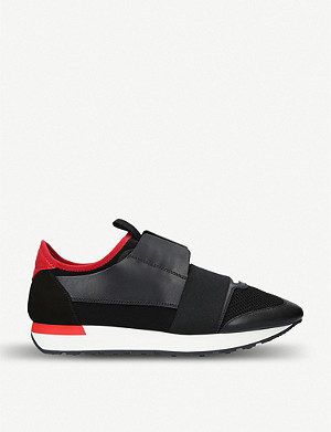 BALENCIAGA Mens Capsule Race Runners leather, suede and mesh trainers