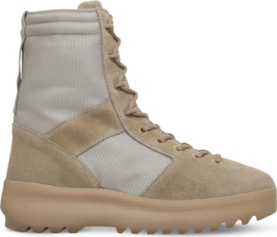 YEEZY Leather and nylon military boots