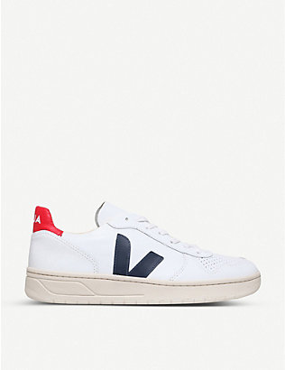 VEJA: Brand-embellished leather low-top trainers
