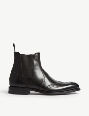 LOAKE Hoskins leather brogue chelsea boots