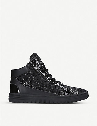 KURT GEIGER LONDON: Jacobs high-top glitter trainers