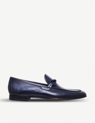 MAGNANNI Braid-trimmed leather loafers