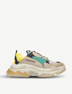 BALENCIAGA Mens Capsule Triple S Runner leather and mesh trainers