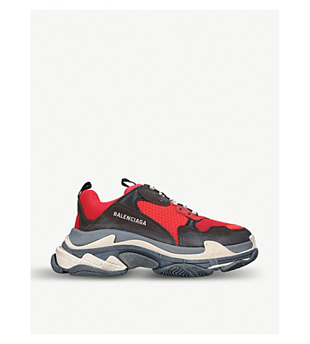 be03ac75fca66 BALENCIAGA Capsule Triple S Runner leather and mesh trainers (Red other