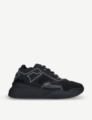 STELLA MCCARTNEY Loop faux-leather and stretch-knit trainers