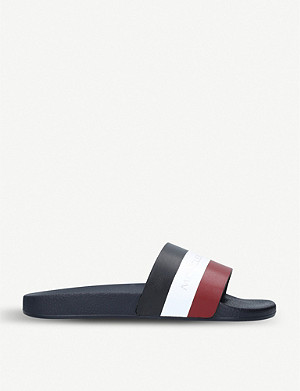MONCLER Moncler striped leather sliders