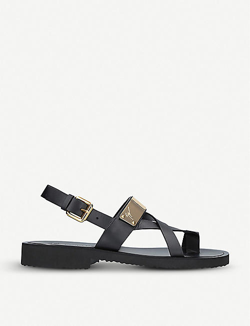 843bbfc58c48 GIUSEPPE ZANOTTI Gold-tone bangle-detail leather sandals