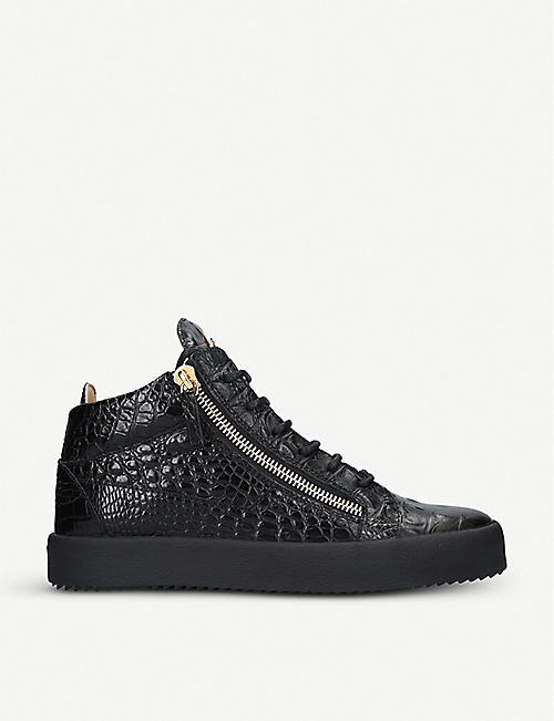 GIUSEPPE ZANOTTI: Kriss croc-embossed patent-leather high-top trainers