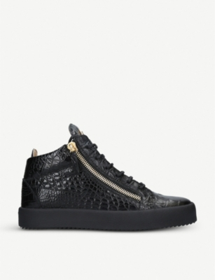 GIUSEPPE ZANOTTI Kriss croc-embossed patent-leather high-top trainers