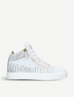 GIUSEPPE ZANOTTI: Crocodile-embossed leather mid-top trainers