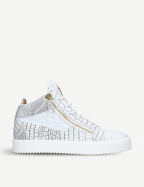 GIUSEPPE ZANOTTI Crocodile-embossed leather mid-top trainers