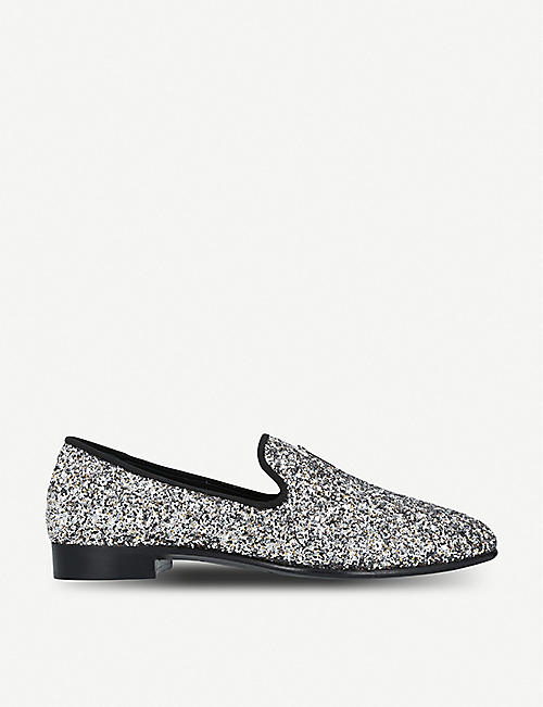 GIUSEPPE ZANOTTI All-over glitter leather slippers