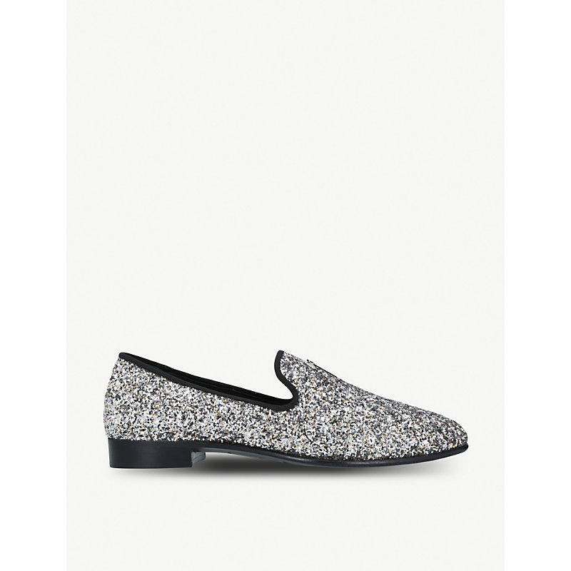 GIUSEPPE ZANOTTI | All-Over Glitter Leather Slippers | Goxip