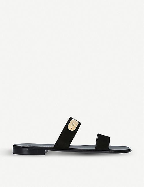 20bd3adacd32d GIUSEPPE ZANOTTI Logo double-strap suede sandals