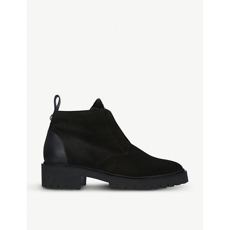 Mid-Heel Suede Boots, Black