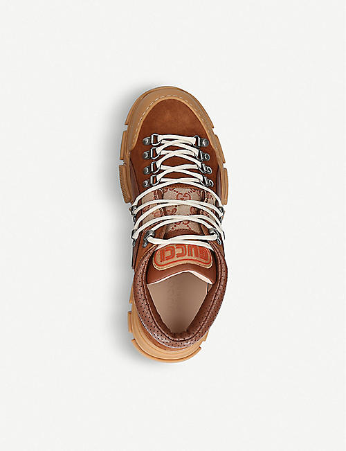 GUCCI Journey Trek leather and canvas trainers