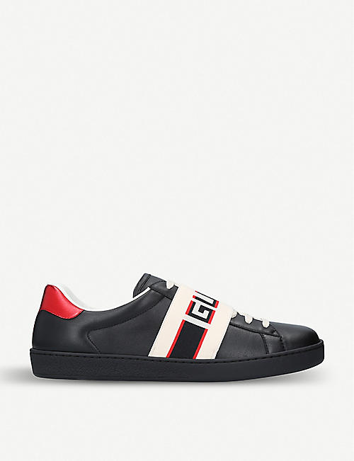38baa47f062 GUCCI New Ace stripe leather trainers