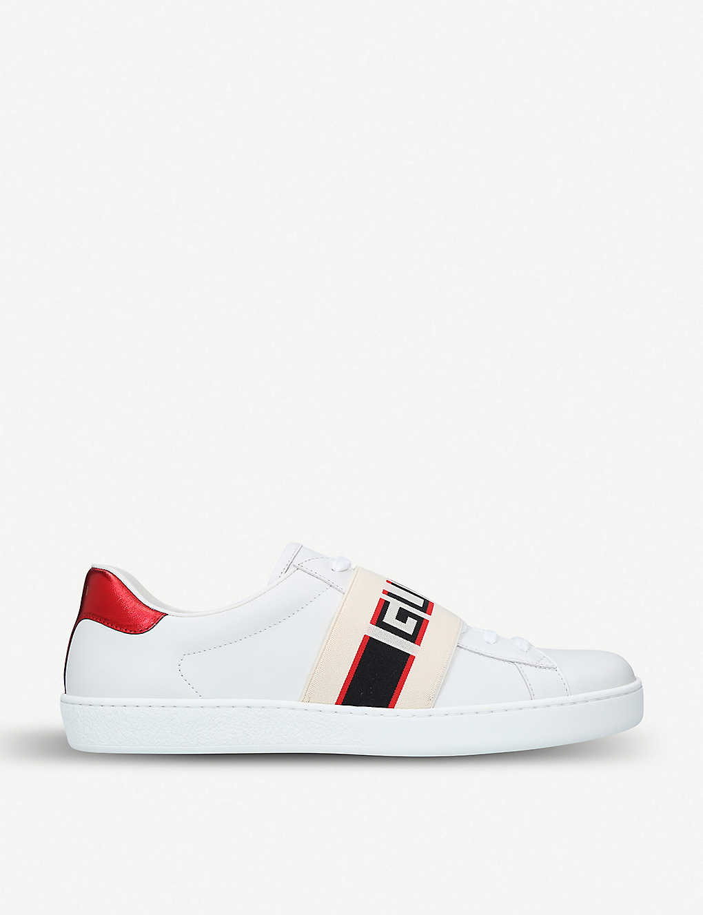 New Ace stripe leather trainers - White ...