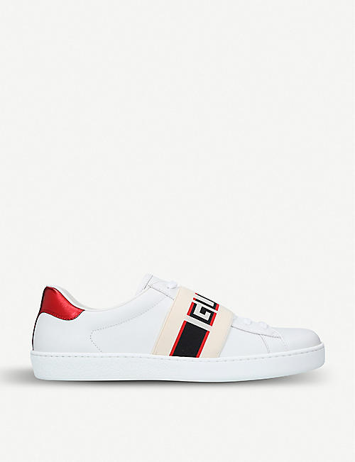 ff042fdc3ec GUCCI New Ace stripe leather trainers
