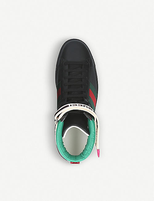 GUCCI New Ace metallic-trimmed leather high-top trainers