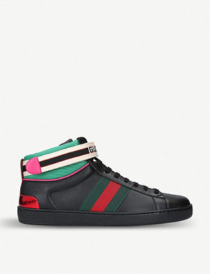 6d238311351f GUCCI New Ace metallic-trimmed leather high-top trainers