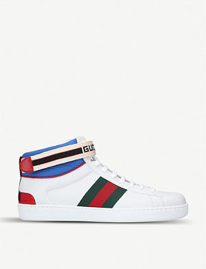 81c4fe6a9804 GUCCI - Coda bling leather high-top trainers