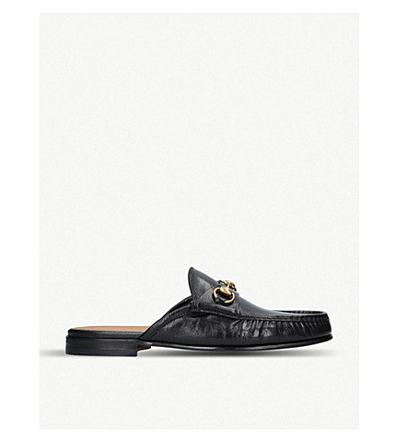 048be284674 GUCCI Roos horsebit open back leather loafers (Black