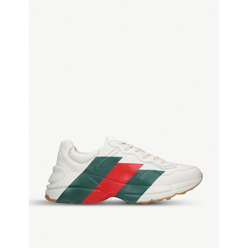 Gucci Rhyton Web-Print Leather Sneakers - White Size 11.5 M