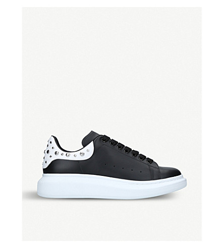 43823a013a97b ... ALEXANDER MCQUEEN Show studded leather platform trainers (Blk white.  PreviousNext