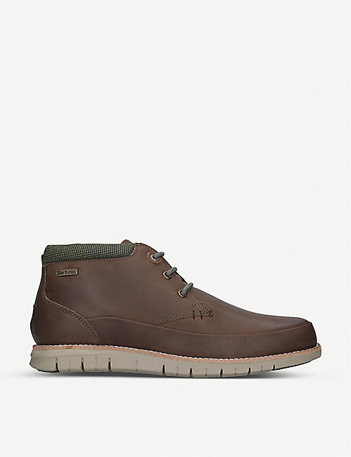 BARBOUR: Nelson contrast trim leather boots
