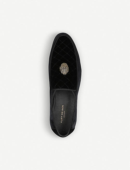 KURT GEIGER LONDON Hugh Eagle Head embellished velvet loafers