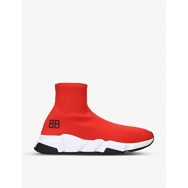 BALENCIAGA | Balenciaga Mens Red, White And Black Capsule BB Speed Stretch-Knitted Trainers EUR 40 / 6 UK MEN | Goxip